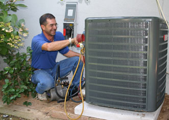 A handyman is Installing AC Unit
